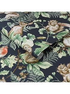superfresco-easy-woodland-animals-navy-wallpaper
