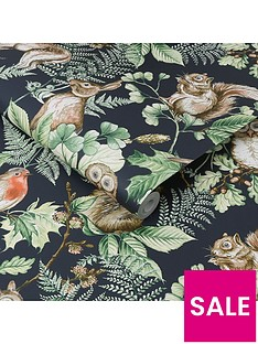 superfresco-easy-woodland-animals-navy-wallpaper