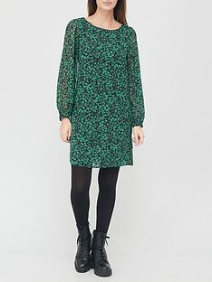 v-by-very-georgette-mini-dress-green-print