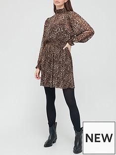 v-by-very-high-neck-printed-mini-dress-leopard-print