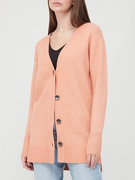 V By Very Relaxed Fit Button Up Knitted Longline Cardigan - Apricot