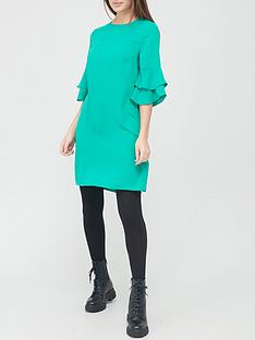 v-by-very-frill-sleeve-tunic-dress-green
