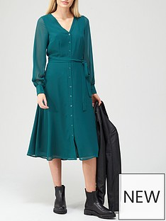 v-by-very-v-neck-button-through-midi-dress-teal