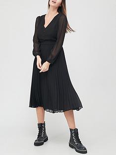 v-by-very-georgette-v-neck-pleated-midi-dress