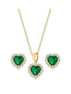 love-gold-9ct-yellow-gold-green-and-white-cubic-zirconia-heart-jewellery-set