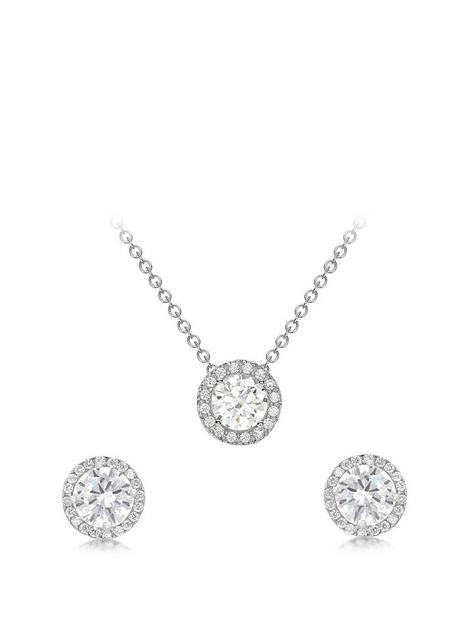 love-gold-9ct-white-gold-cubic-zirconia-halo-jewellery-set