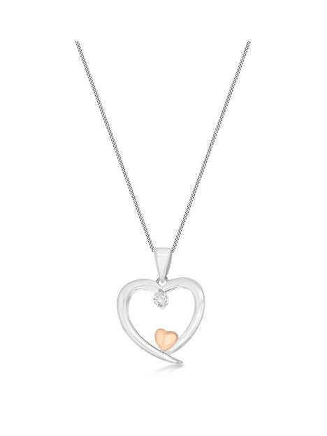 the-love-silver-collection-sterling-silver-and-rose-gold-plated-cubic-zirconia-hearts-necklace