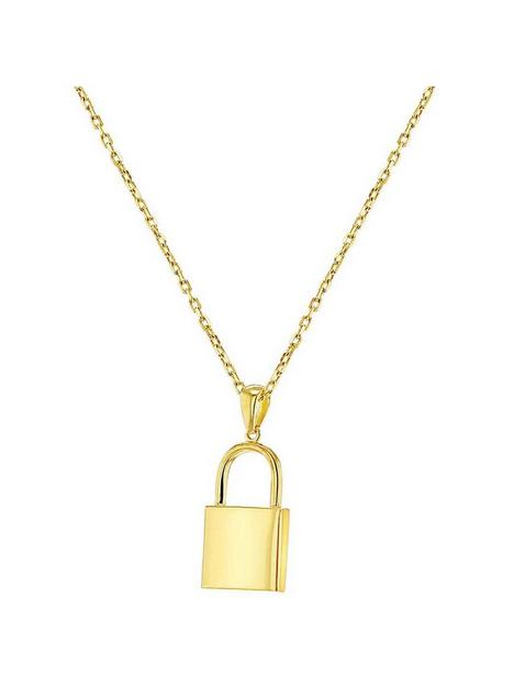 the-love-silver-collection-gold-plated-sterling-silver-padlock-adjustable-pendant-necklace