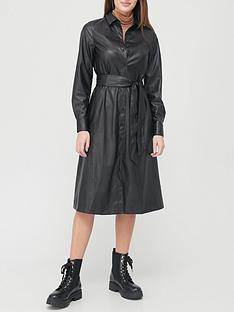 v-by-very-pu-midi-shirt-dress-black