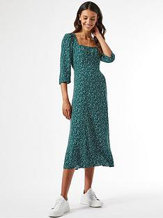 dorothy-perkins-square-neck-spot-print-midinbspdress-greennbsp