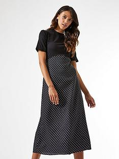 dorothy-perkins-woven-jersey-mix-midi-spot-dress-blacknbsp
