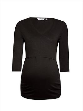 dorothy perkins maternity 3/4 sleeve ballet wrap top - black, black, size 6, women