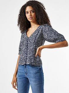 dorothy-perkins-ditsy-button-through-34-top--nbspbluenbsp