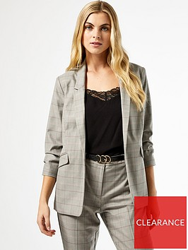 dorothy-perkins-check-ruched-sleeve-blazernbsp--grey