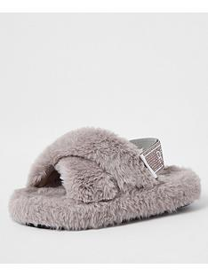 river-island-mini-girls-faux-fur-diamante-strap-slipper-grey