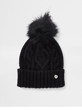 river-island-cable-knit-beanie-black