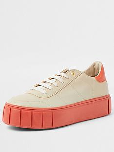 river-island-platform-lace-up-trainer-coral