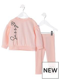 river-island-mini-mini-girls-sassy-sweat-and-legging-set-pink