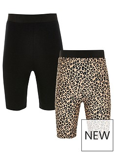river-island-girls-2-pack-leopard-cycling-short-set-multi
