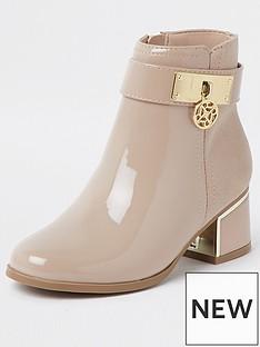 river-island-patent-trim-heeled-boot-nude