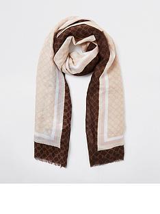 river-island-monogram-lightweight-scarf-pink