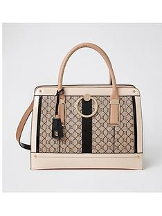 river-island-ring-front-monogram-tote-brown