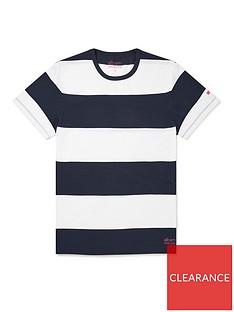 albam-utility-block-stripe-t-shirt-whitenavy