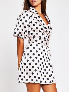 river-island-spot-print-belted-shirt-dress-pink