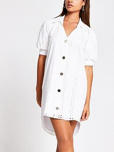 river-island-broderie-shirt-mini-dress-white