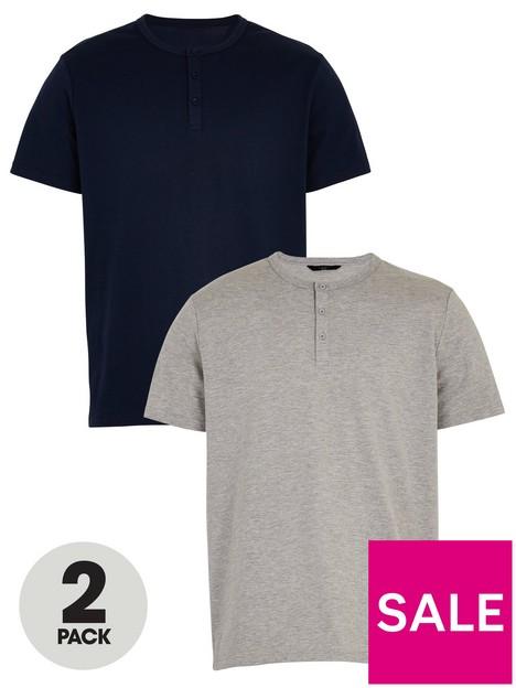 very-man-valuenbsp2-pack-henley-t-shirts-navygreynbsp