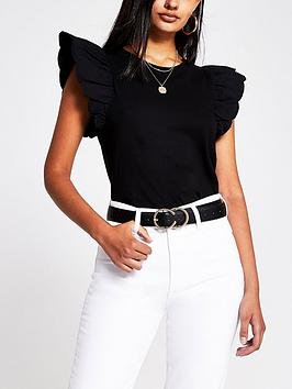 river-island-scallop-edge-woven-sleeve-t-shirt-black