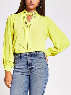 river-island-long-sleeve-pussybow-blouse-lime