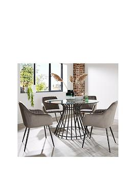 Angel 120 Cm Glass Top Dining Table