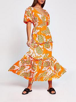river-island-paisley-print-dress-orange