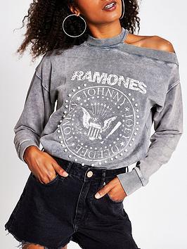 river-island-ramones-print-sweatshirt-grey