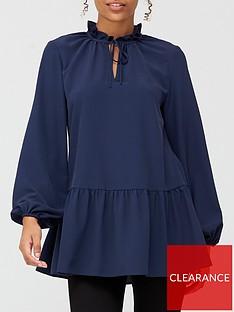v-by-very-tie-neck-longline-blouse-navy