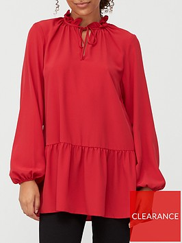 v-by-very-tie-neck-longline-blouse-red