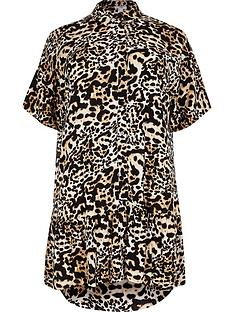 ri-plus-leopard-shirt-smock-dress-brown