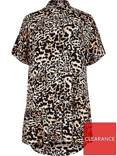 ri-plus-leopard-shirt-smock-dress-brown