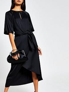 river-island-tie-side-asymmetric-midi-dress-black