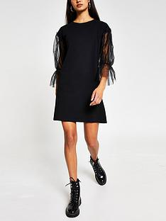 river-island-mesh-interest-mini-dress-black