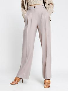 river-island-pleat-detail-wide-leg-trouser-grey