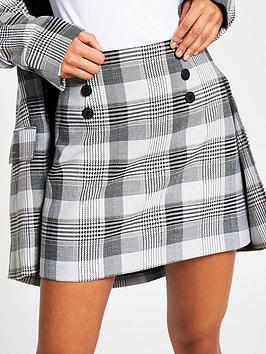 river-island-button-check-mini-skirt-grey