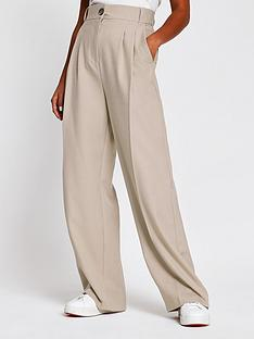 ri-petite-pleat-detail-wide-leg-trouser-grey