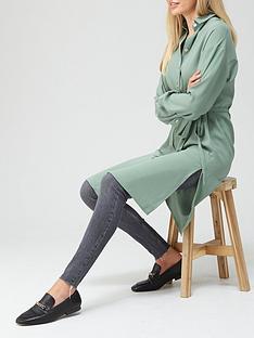 v-by-very-extra-longline-button-through-shirt-sage
