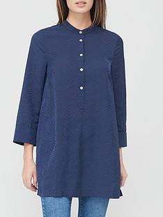 v-by-very-collarless-jaquard-relaxed-blouse-navy