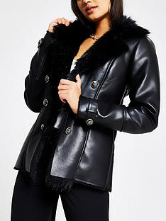 river-island-faux-fur-trim-pu-blazer-jacket-black
