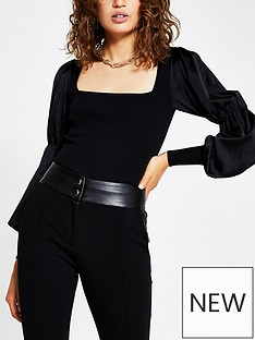river-island-satin-sleeve-knitted-top-black