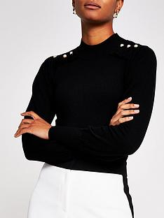 river-island-pearl-detail-frill-high-neck-top-black