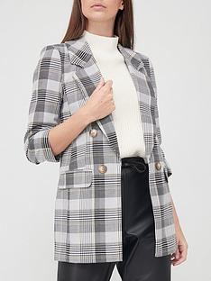 river-island-button-front-ruched-sleeve-check-blazer-grey